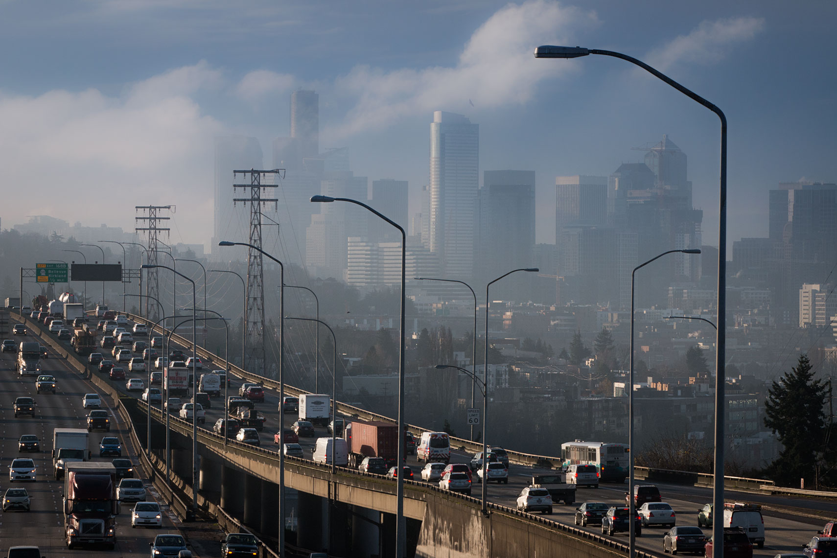 I-5 and downtown skyline, 10:53am